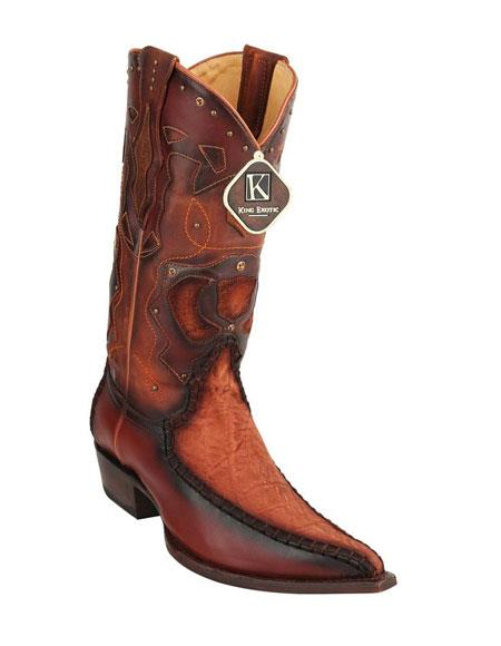 Men's King Cognac Embroidered Genuine Elephant Skin Boots Handcrafted