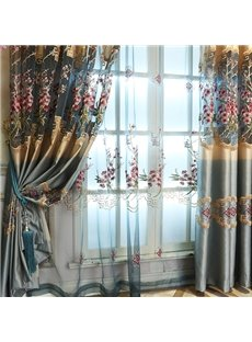 Pastoral Style Decorative Polyester Embroidered Peach Blossoms Blue Sheer Curtain