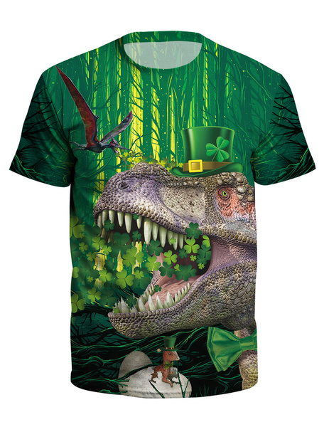 Milanoo St Patricks Day T Shirt Green 3D Printed Dinosaur Clover Unisex Irish Short Sleeve Top Halloween