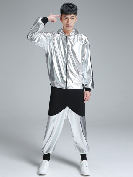 Milanoo Hip Hop Clothing Dance Costume Silver Hooded Top With Pants