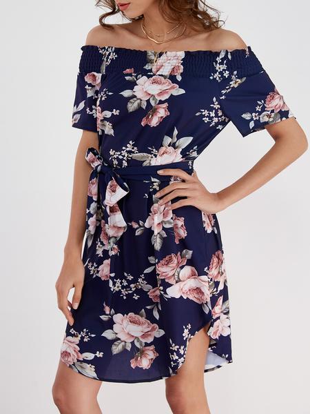 Yoins Random Floral Print Off Shoulder Dress