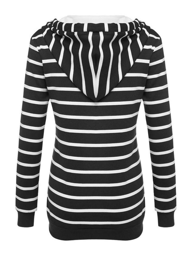 Ericdress Button Stripe Regular Hooded Thin Hoodie