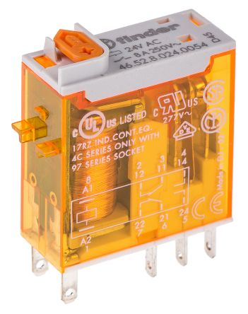 Finder , 24V ac Coil Non-Latching Relay DPDT, 8A Switching Current PCB Mount, 2 Pole