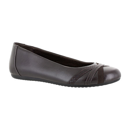 Easy Street Womens Derry Ballet Flats, 5 Medium, Brown