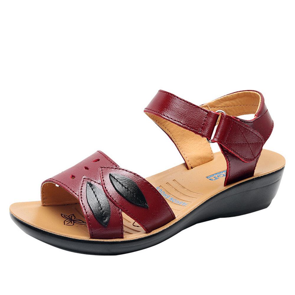 Women Comfy Leather Hollow Hook Loop Wedges Sandals