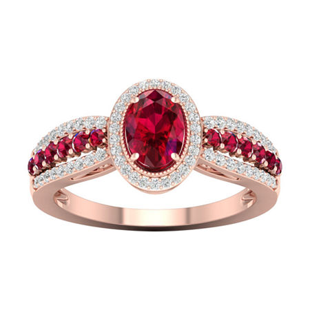 Womens 1/5 CT. T.W. Lead Glass-Filled Red Ruby 10K Gold Cocktail Ring, 9 , No Color Family