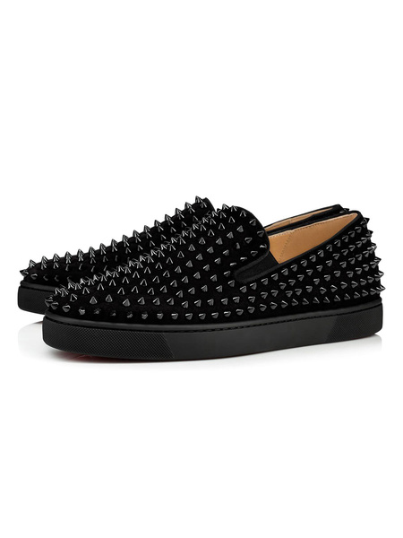 Milanoo Men\'s Loafer Shoes Rivets Round Toe Suede Leather Slip-On Prom Shoes Splike Shoes