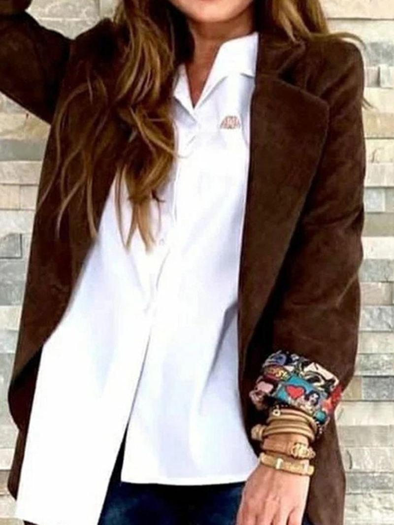Ericdress Plain Lapel Long Sleeve Mid-Length Regular Casual Blazer