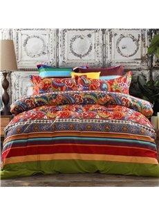 Ethnic Vintage Floral Striped Cotton Boho Bohemian Style 4-Piece Bedding Sets/Duvet Covers Endurable Skin-friendly All-Season