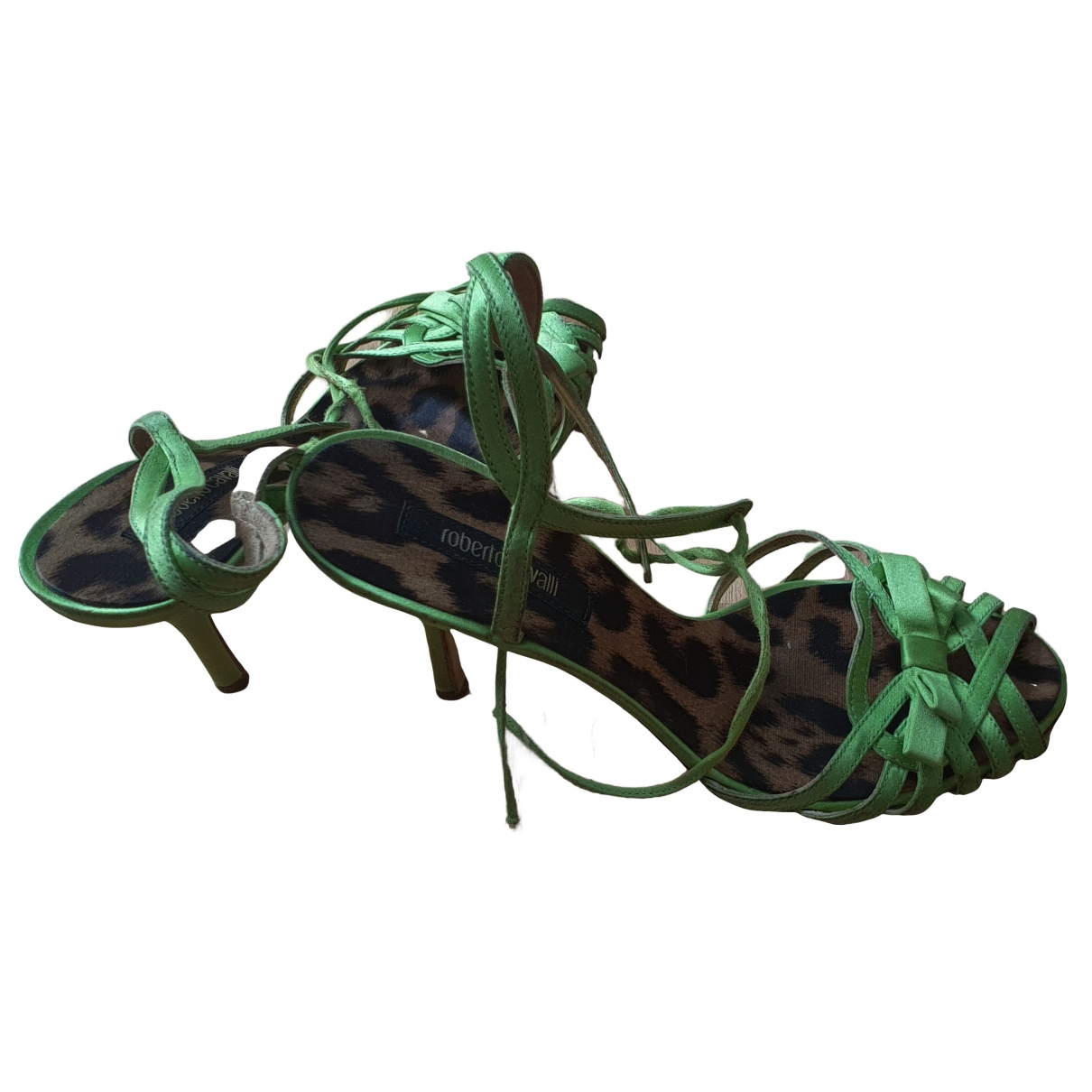 Roberto Cavalli \N Green Leather Sandals for Women 38 EU
