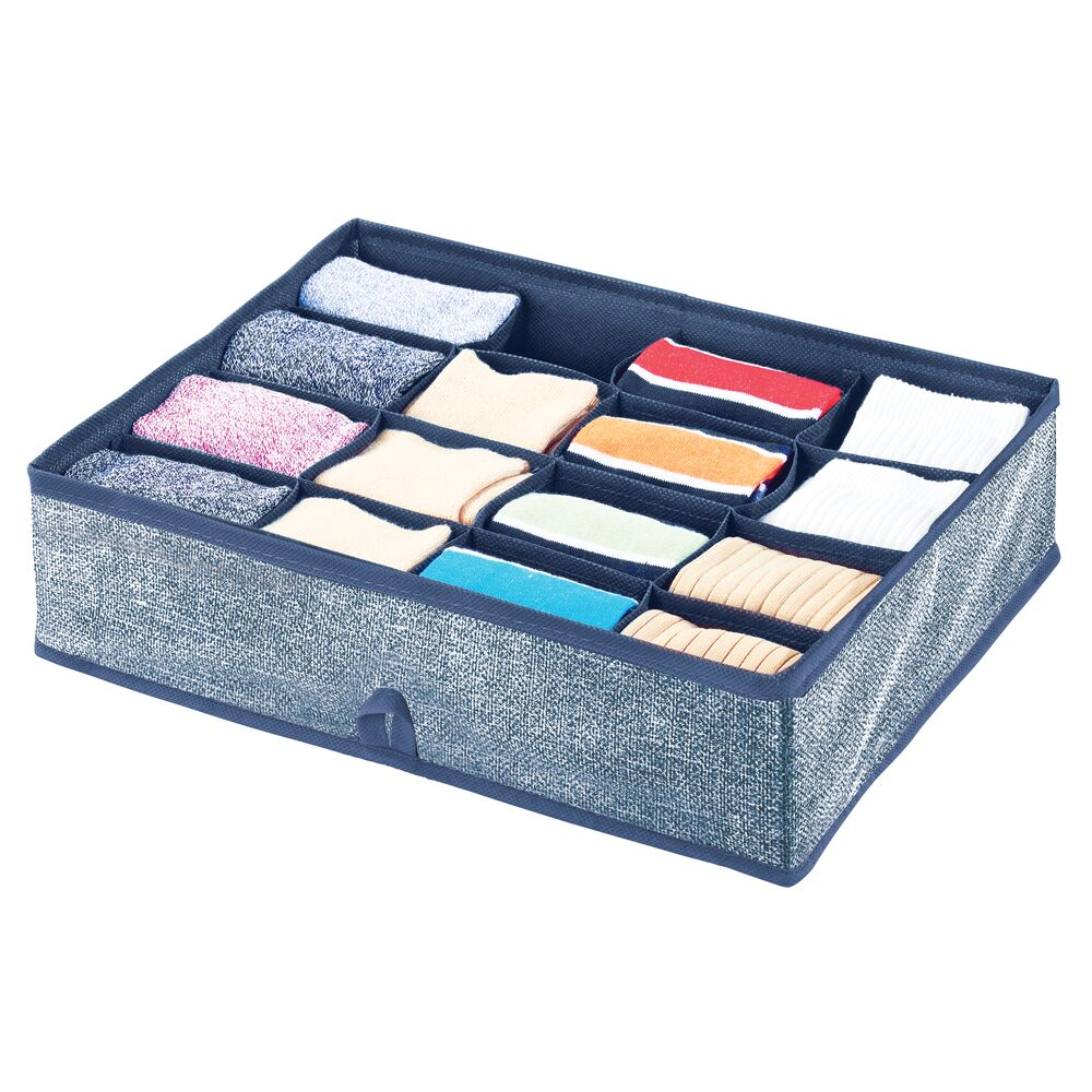 16 Compartment Fabric Divided Drawer Organizer in Navy, 13.75