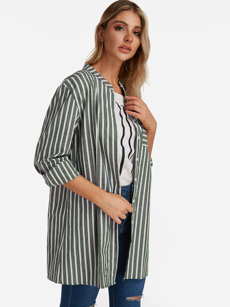 Yoins Green Stripe Patch Pockets Single Breasted Design Long Sleeves Shirt