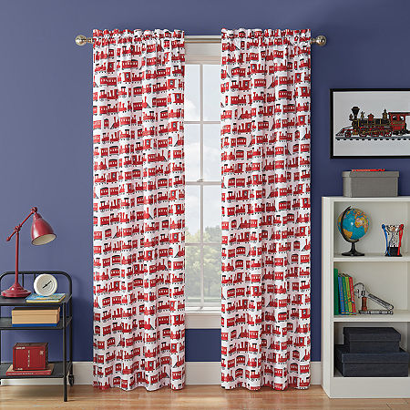 Waverly Express Train Light-Filtering Rod-Pocket Single Curtain Panel, One Size , Multiple Colors