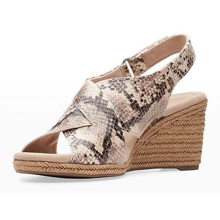 Clarks Womens Lafley Alaine Wedge Sandals, 8 1/2 Wide, Multiple Colors