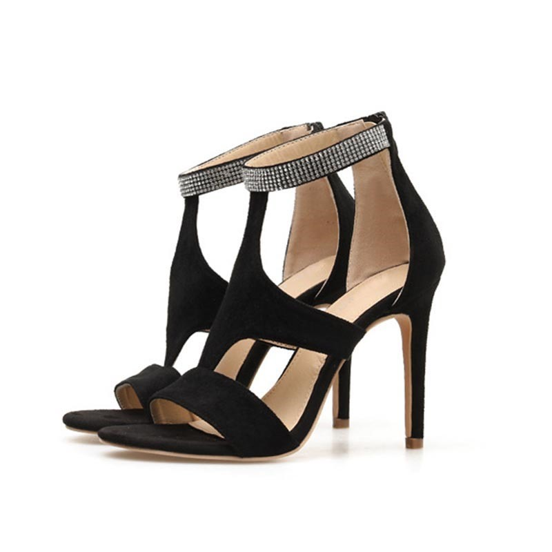 Ericdress Zipper Heel Covering Round Toe Plain Sandals