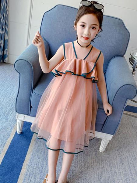 Milanoo Toddler Age 4-15 Girl\'s Summer Dress High Waist Polyester Kids Dresses