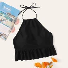 Ruffle Hem Halter Swimming Top