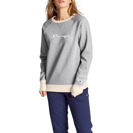 Champion Womens Crew Neck Long Sleeve Hoodie, Large , Gray