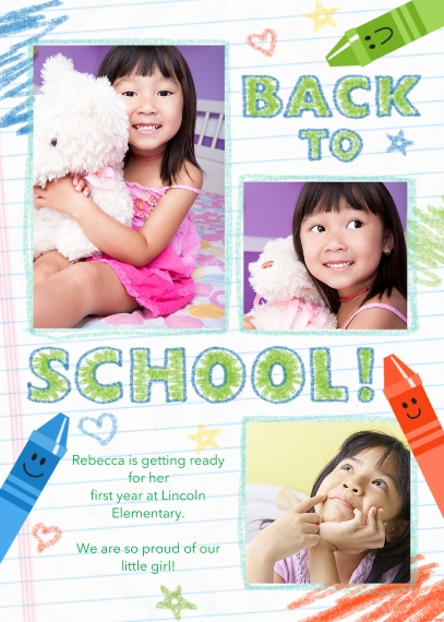 Back to School 5x7 Cards, Premium Cardstock 120lb with Scalloped Corners, Card & Stationery -Back to School Doodle