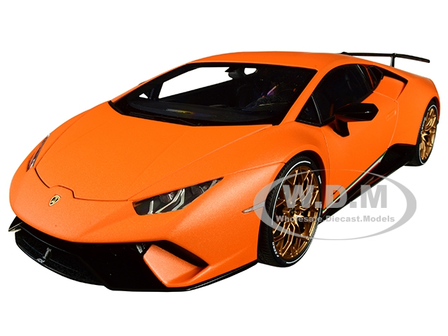 Lamborghini Huracan Performante Arancio Anthaeus / Matt Orange with Gold Wheels 1/18 Model Car by Autoart