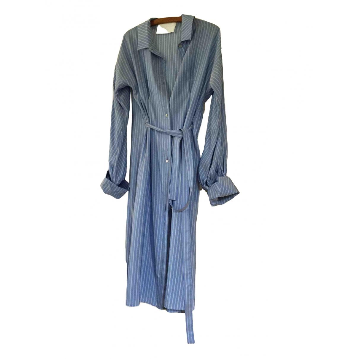 Mark Kenly Domino Tan \N Blue Silk dress for Women One Size FR
