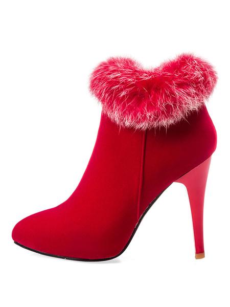 Milanoo Women's Purple Boots Faux Fur Pointed Toe High Heel Suede Stiletto Winter Booties