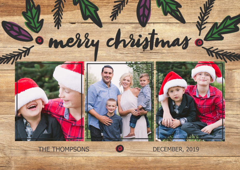 Christmas Photo Cards Flat Glossy Photo Paper Cards with Envelopes, 5x7, Card & Stationery -Rustic Christmas