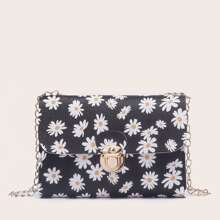Daisy Print Chain Crossbody Bag