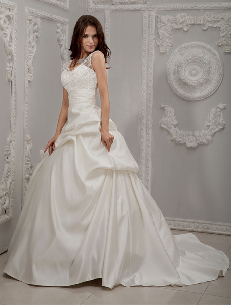 Milanoo Ivory V-Neck Beading Lace Satin Bridal Ball Gowns