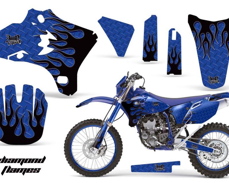 AMR Racing Graphics MX-NP-YAM-WR250F-WR450F-05-06-DF U K Kit Decal Wrap + # Plates For Yamaha WR250 WR450F 2005-2006 DIAMOND FLAMES BLUE BLACK