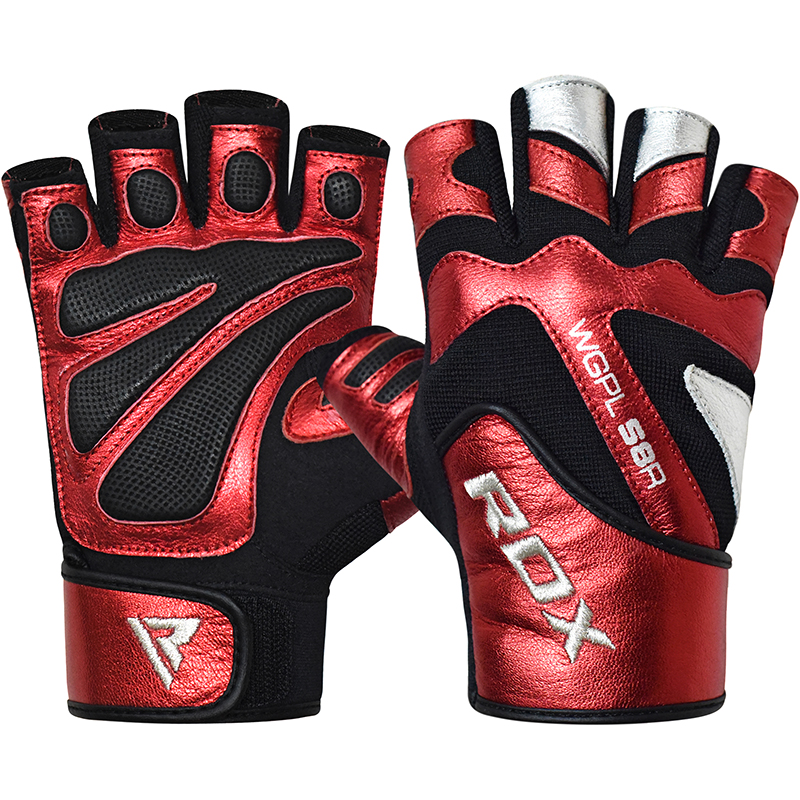 RDX S8 Bold Gym Fitness Gloves in Leather Fingerless Large Red/Black/White