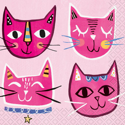 Pink Cat Beverage Napkins, 16ct For Birthday Party