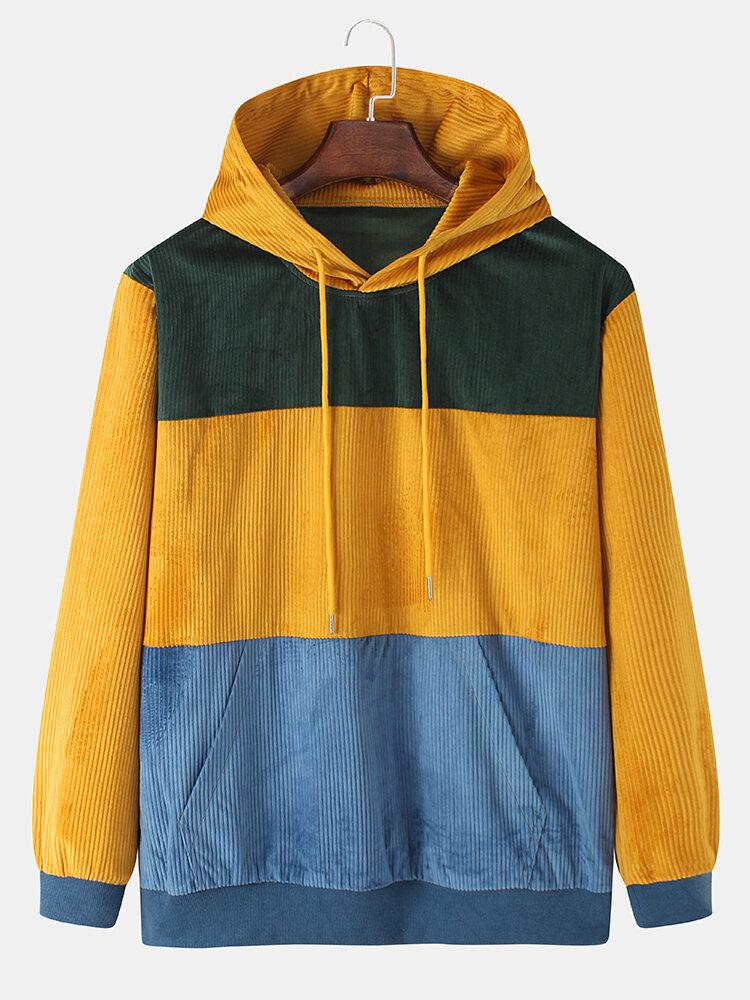 Mens Color Block Corduroy Splicing Pullover Hoodies With Kangaroo Pocket