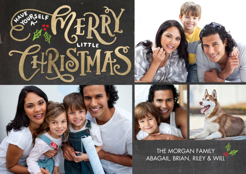 Christmas Photo Cards Flat Matte Photo Paper Cards with Envelopes, 5x7, Card & Stationery -Christmas Gold Letters by Tumbalina