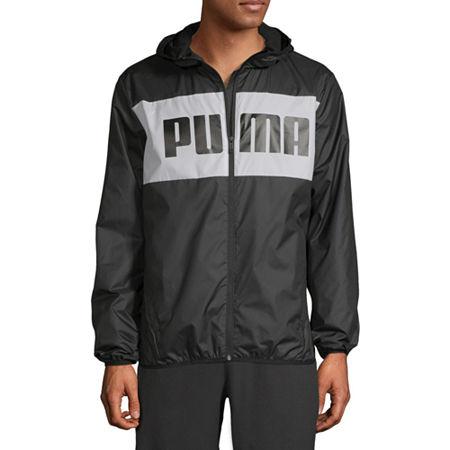 Puma Blocks Hooded Lightweight Windbreaker, Small , Black