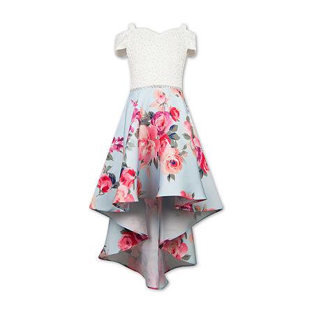 Speechless Big Girls Embellished Short Sleeve Cold Shoulder Sleeve Party Dress, 12 , Blue