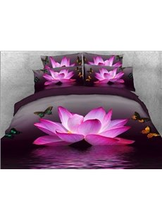 Vivilinen 3D Pink Lotus and Butterfly Printed 5-Piece Comforter Sets