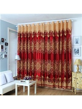 Royal Style Jacquard Beaded Curtains Polyester Heat Insulation Blackout Curtain Sets No Pilling No Fading No off-lining