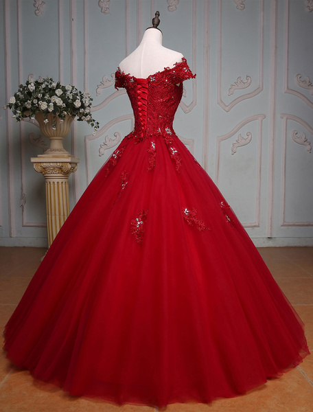 Milanoo Burgundy Quinceanera Dresses Luxury Off The Shoulder Princess Lace Beading Floor Length Tulle Women's Pageant Dress