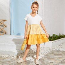 Girls Stripe and Polka Dot Spliced Flounce Hem Dress