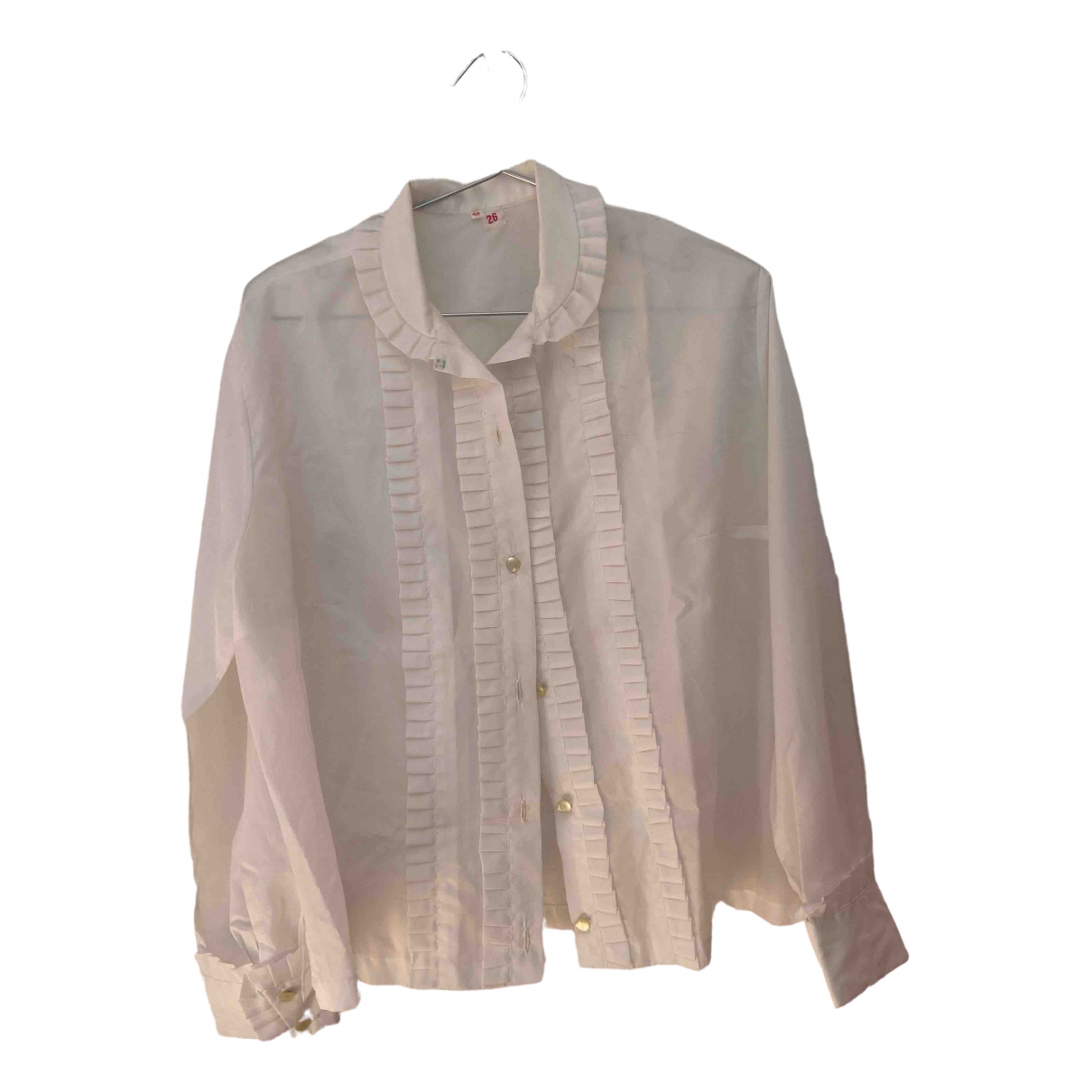 Non Signé / Unsigned \N White Silk  top for Women 46 IT