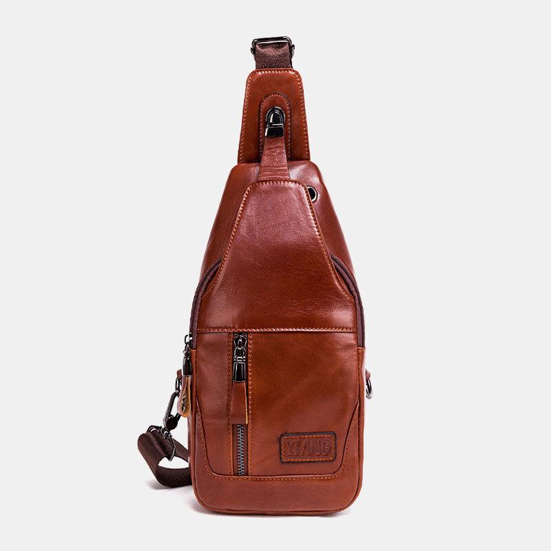 Men Genuine Leather Retro Solid Outdoor Chest Bag Crossbody Bag