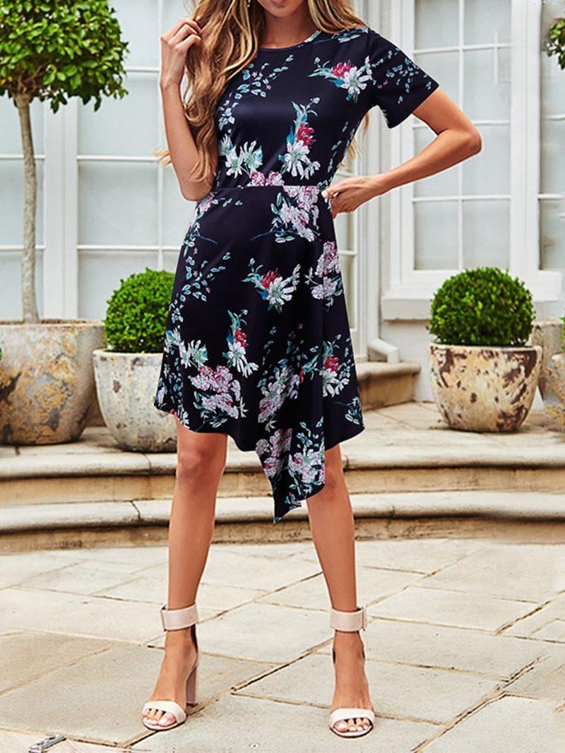 Ericdress Print Asymmetrical Round Neck Short Sleeve Above Knee Regular Dress