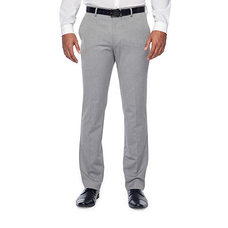 JF J.Ferrar Light Gray Texture Mens Stretch Super Slim Fit Suit Pants, 34 30, Gray