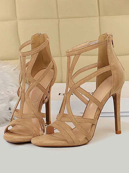 Milanoo High Heels Sandals Black Hollow Out Stiletto Sandals Womens Open Toe Heeled Sandals