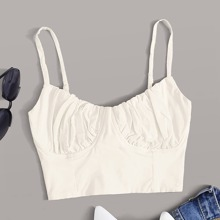 Ruched Bust Lace-up Crop Cami