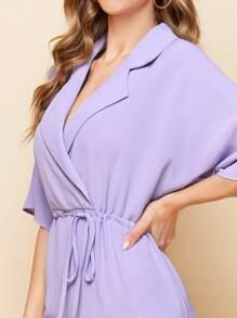 Notched Collar Drawstring Waist Shirt Jumpsuit