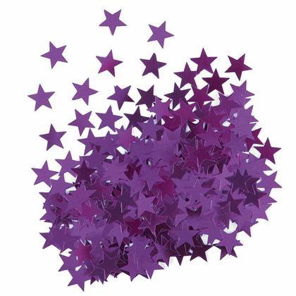 Metallic Purple Foil Star Sequin Table Confetti for Party Decoration, 0.5oz