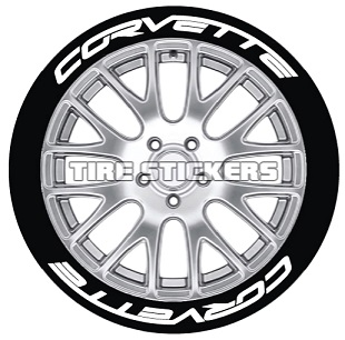 Tire Stickers CORVTT-1416-15-8-Y Permanent Raised Rubber Lettering 'Corvette' Logo - 8 of each -    14