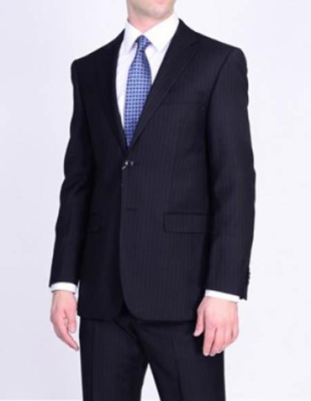 Men's Black Notch Lapel Striped Pattern 2 Button Italian 1 Wool Suit
